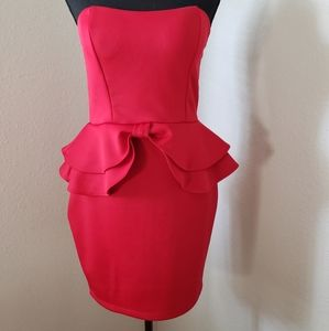 New Red Strapless Dress with Bow and Ruffle